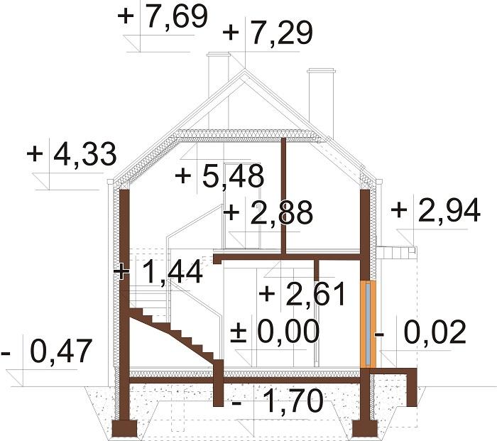 Projekt domu DM-6781 - przekrój