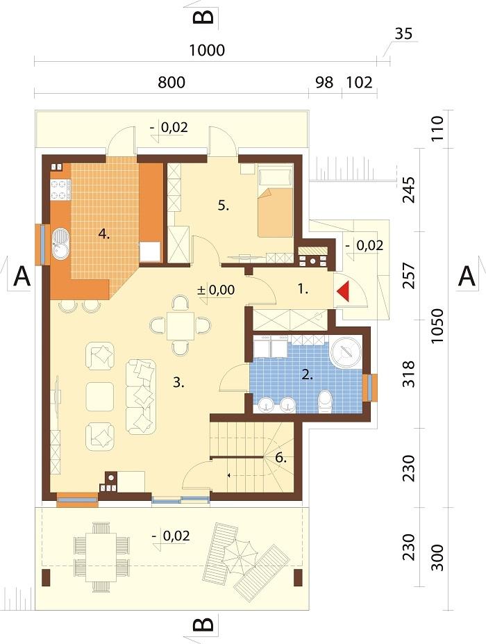 Projekt domu DM-6764 - rzut