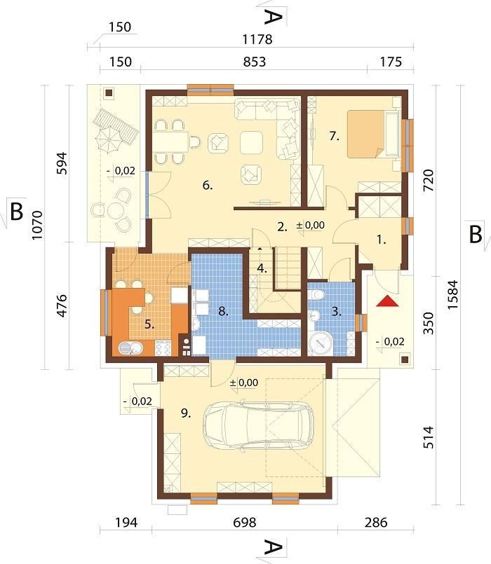 Projekt domu DM-6782 - rzut