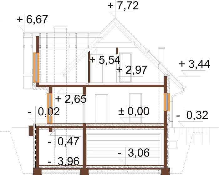 Projekt domu L-6764 - przekrój
