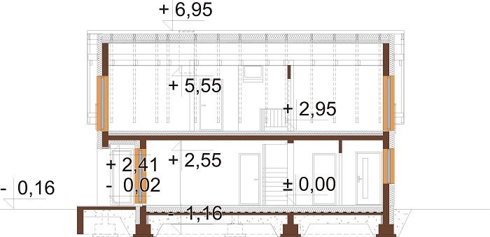 Projekt domu L-6782 - przekrój