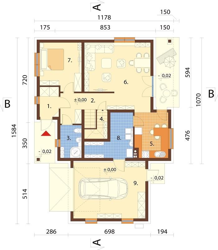 Projekt domu L-6782 - rzut