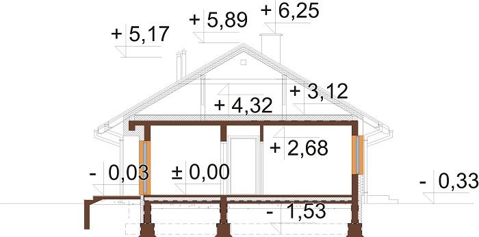 Projekt domu DM-6616 D - przekrój