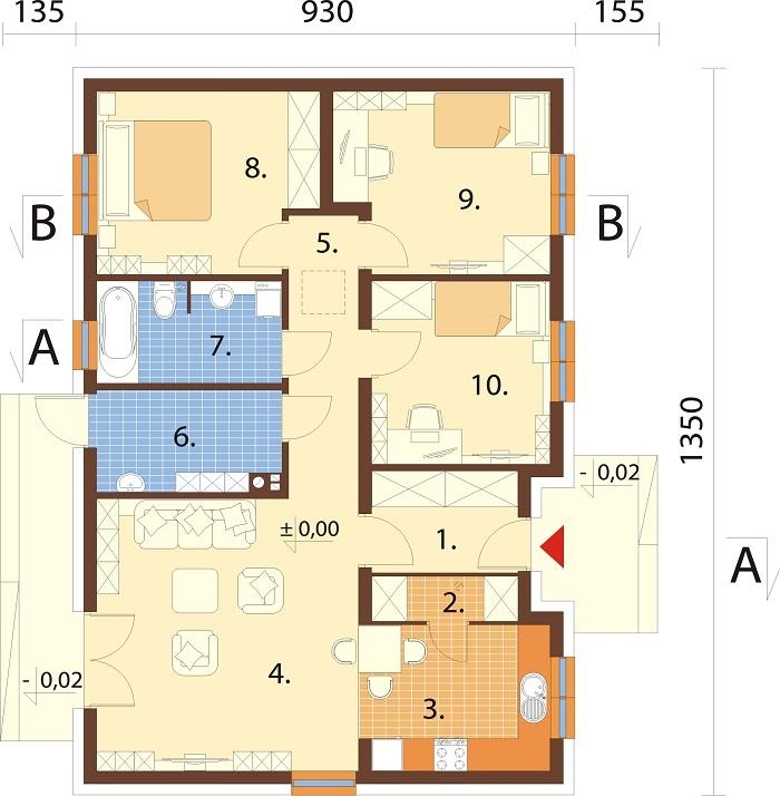 Projekt domu DM-6616 D - rzut