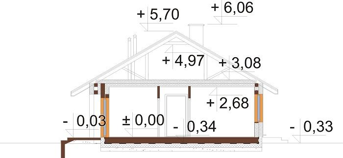 Projekt domu DM-6616 H - przekrój