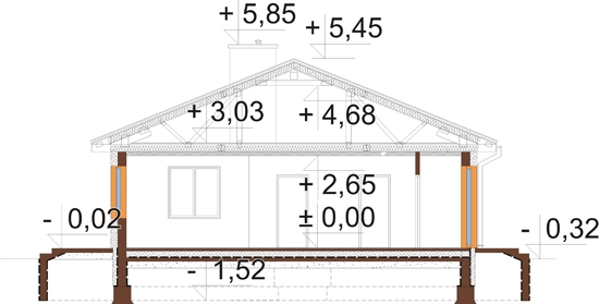 Projekt domu L-5519 - przekrój