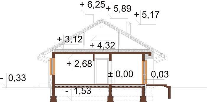 Projekt domu L-6616 D - przekrój