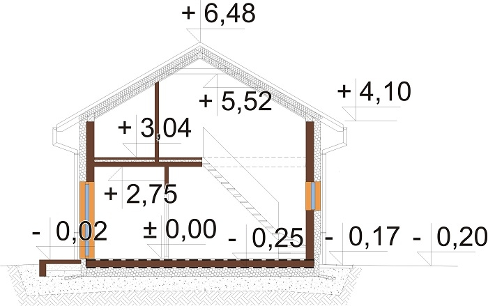 Projekt domu L-6771 - przekrój