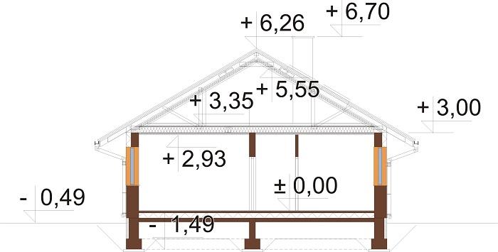Projekt domu DM-6779 - przekrój
