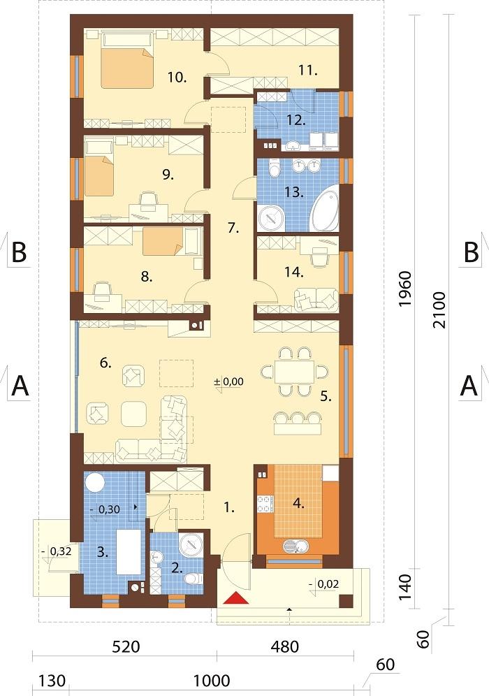 Projekt domu DM-6779 - rzut