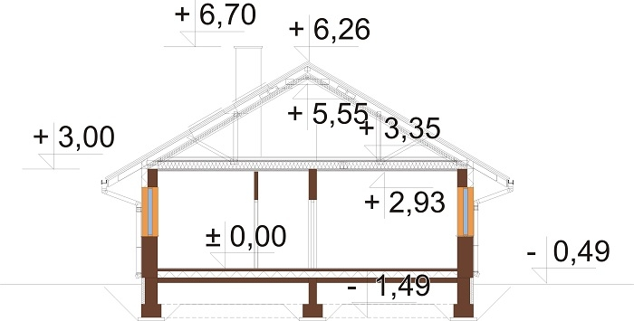 Projekt domu L-6779 - przekrój