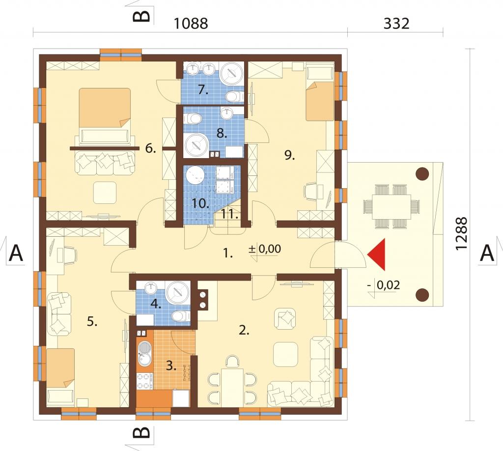 Projekt domu DM-6752 - rzut