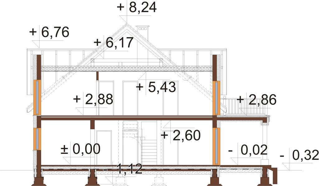 Projekt domu DM-6752 - przekrój