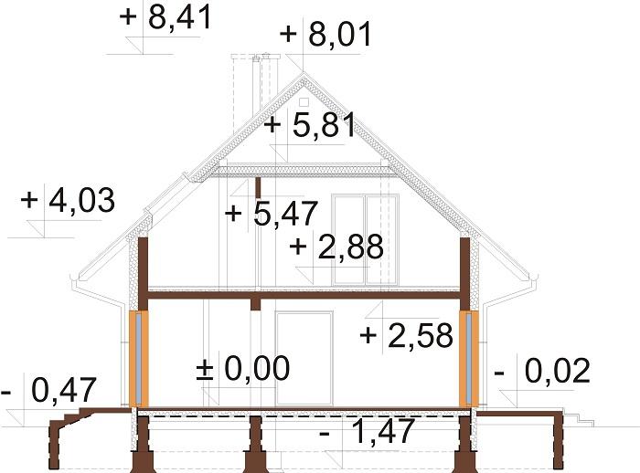 Projekt domu L-6791 - przekrój