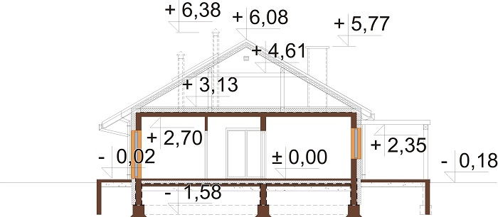 Projekt domu DM-6735 - przekrój