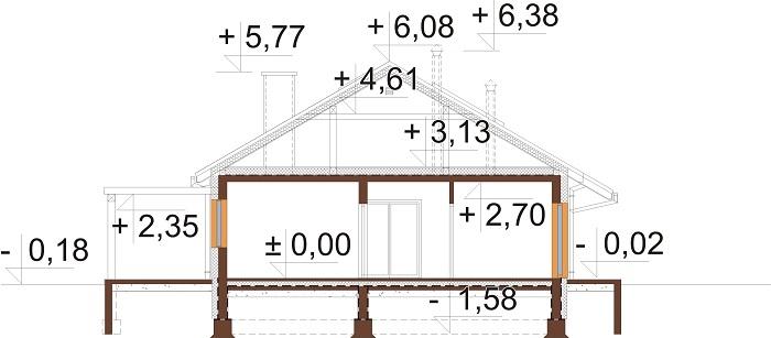 Projekt domu L-6735 - przekrój