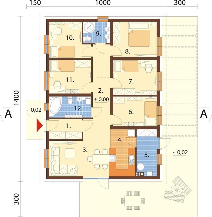 Projekt domu L-6735 - rzut