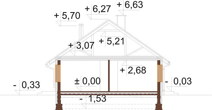 Projekt domu DM-6616 E - przekrój