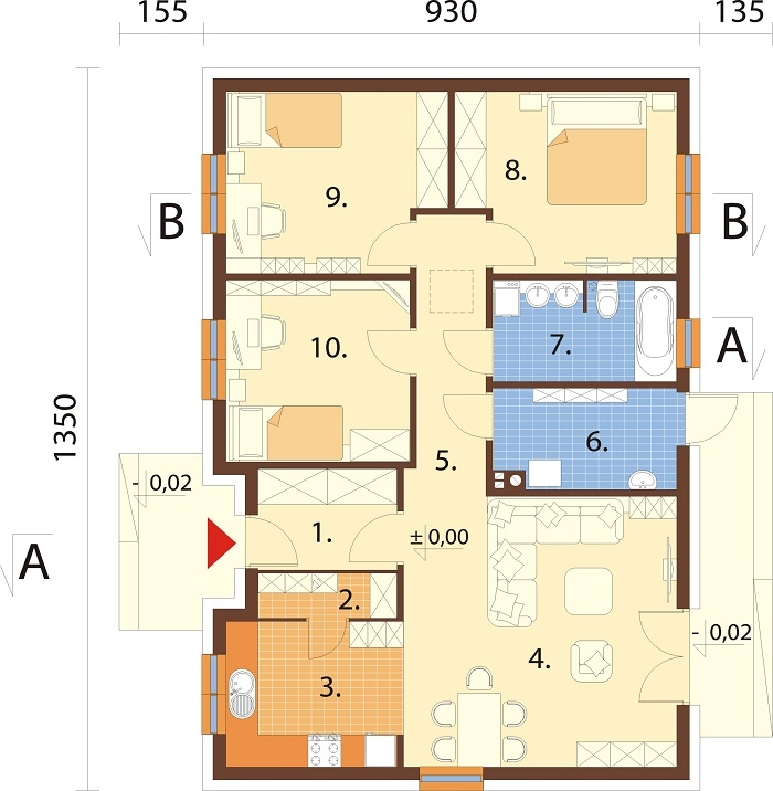 Projekt domu L-6616 E - rzut