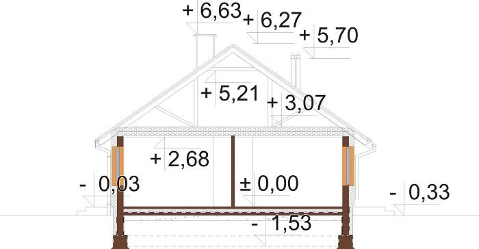 Projekt domu L-6616 E - przekrój