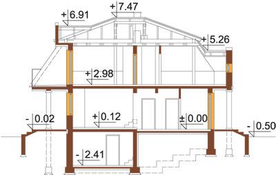 Projekt domu L-5530 - przekrój