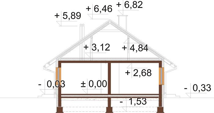 Projekt domu DM-6616 F - przekrój