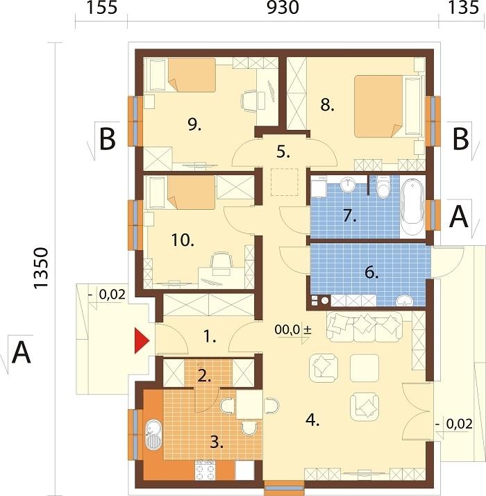 Projekt domu L-6616 F - rzut