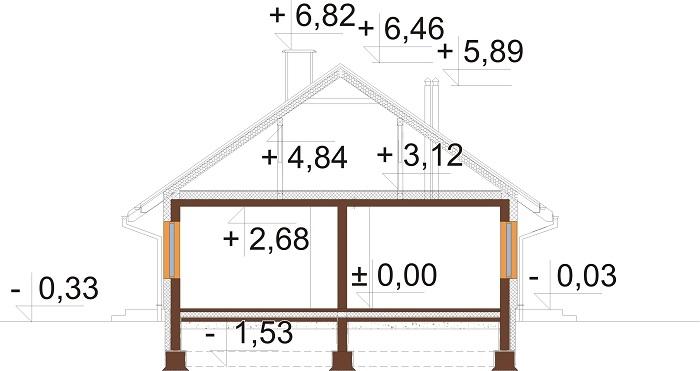 Projekt domu L-6616 F - przekrój
