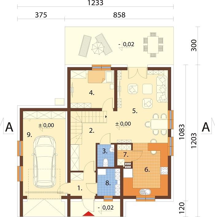 Projekt domu DM-6800 - rzut