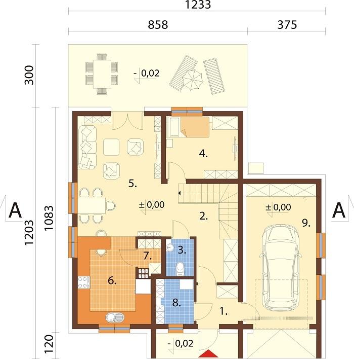 Projekt domu L-6800 - rzut