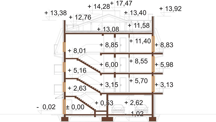 Projekt domu L-6793 - przekrój