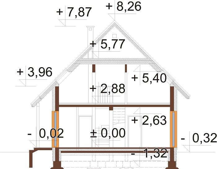 Projekt domu L-6798 - przekrój