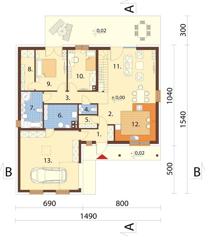 Projekt domu DM-6769 - rzut