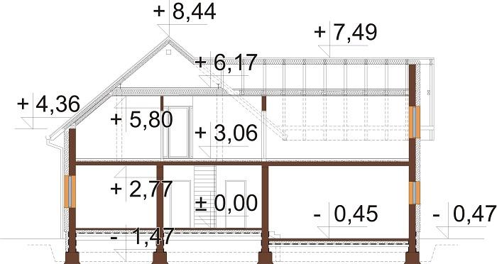 Projekt domu DM-6797 - przekrój
