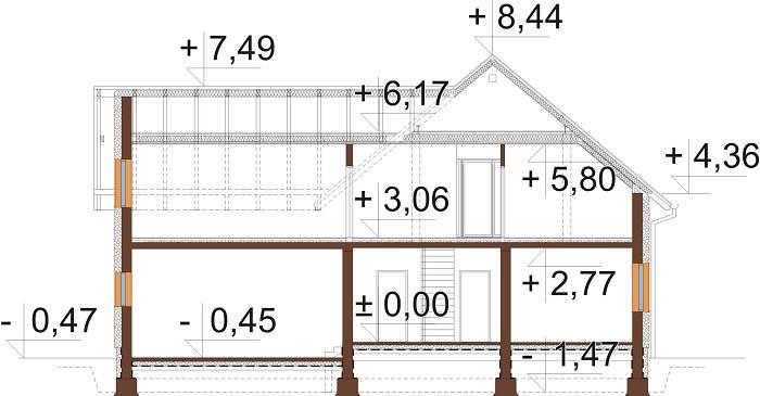 Projekt domu L-6797 - przekrój
