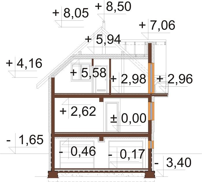 Projekt domu DM-6767 - przekrój
