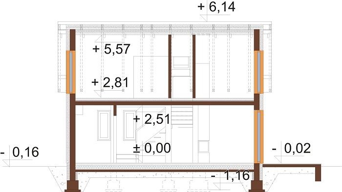 Projekt domu L-6773 - przekrój