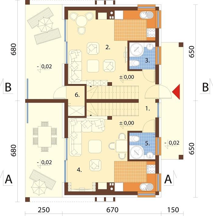 Projekt domu DM-6786 - rzut