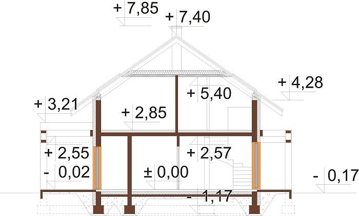 Projekt domu DM-6787 - przekrój