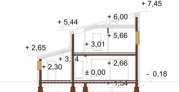 Projekt domu DM-6803 - przekrój