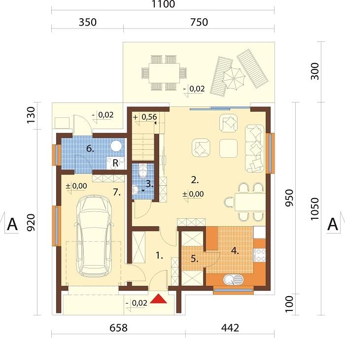 Projekt domu DM-6803 - rzut