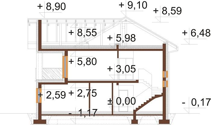 Projekt domu L-6799 - przekrój