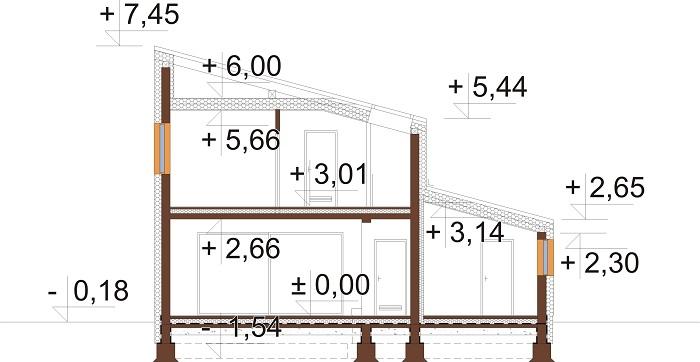 Projekt domu L-6803 - przekrój