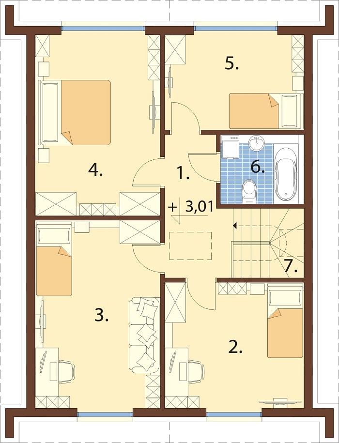 Projekt domu DM-6807 - rzut