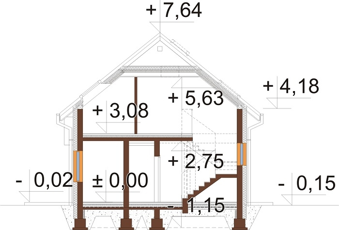 Projekt domu DM-6813 - przekrój