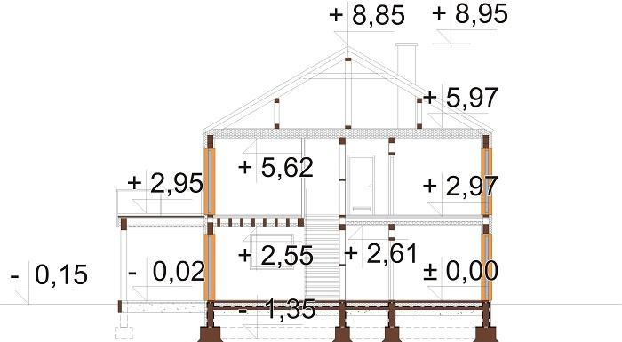 Projekt domu L-6808 - przekrój