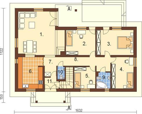 Projekt domu L-5556 - rzut