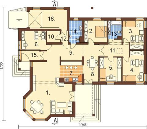 Projekt domu L-5572 - rzut