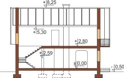 Projekt domu L-5573 - przekrój
