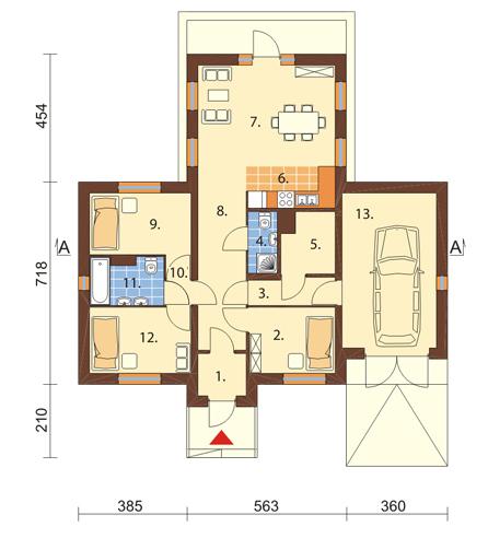 Projekt domu L-6018 - rzut